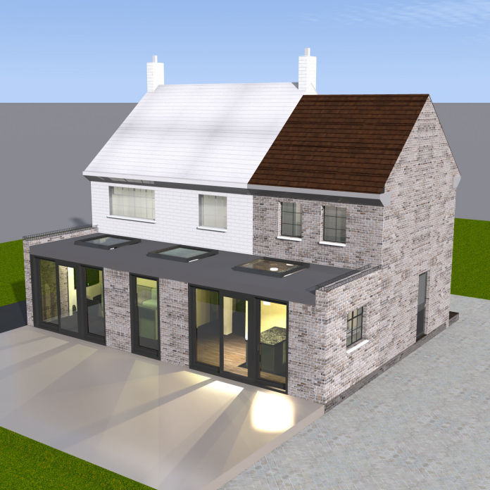 Doube Storey Side Extension with a Single Storey Extension at the back - 3d visualisation