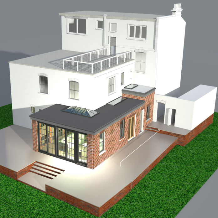 Single Storey Wrap Around House Extension - 3d render