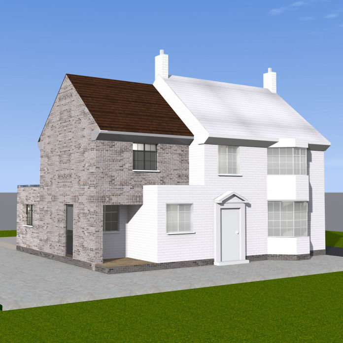Over-Structure Extension with a Single Storey Extension at the back - 3d plan