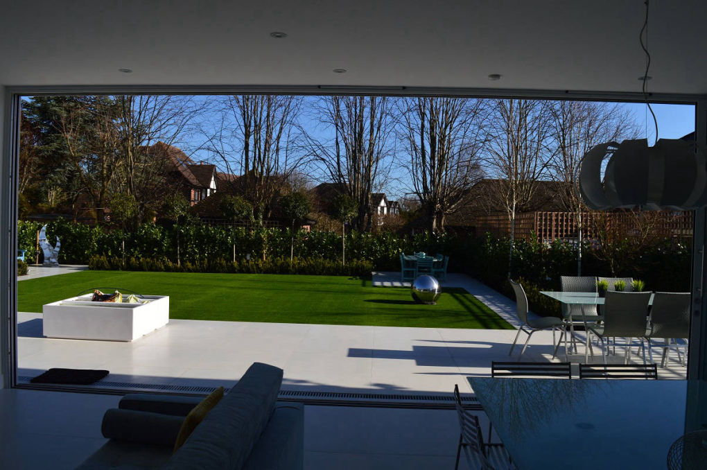 Garden view from a rear house extension in Barnet, London