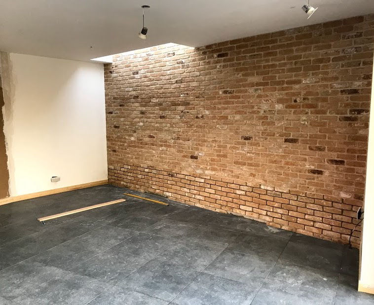 Feature brick wall in a house extension