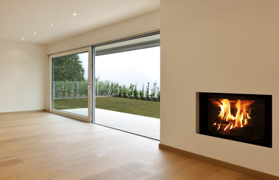 Contemporary fireplace in a house extension