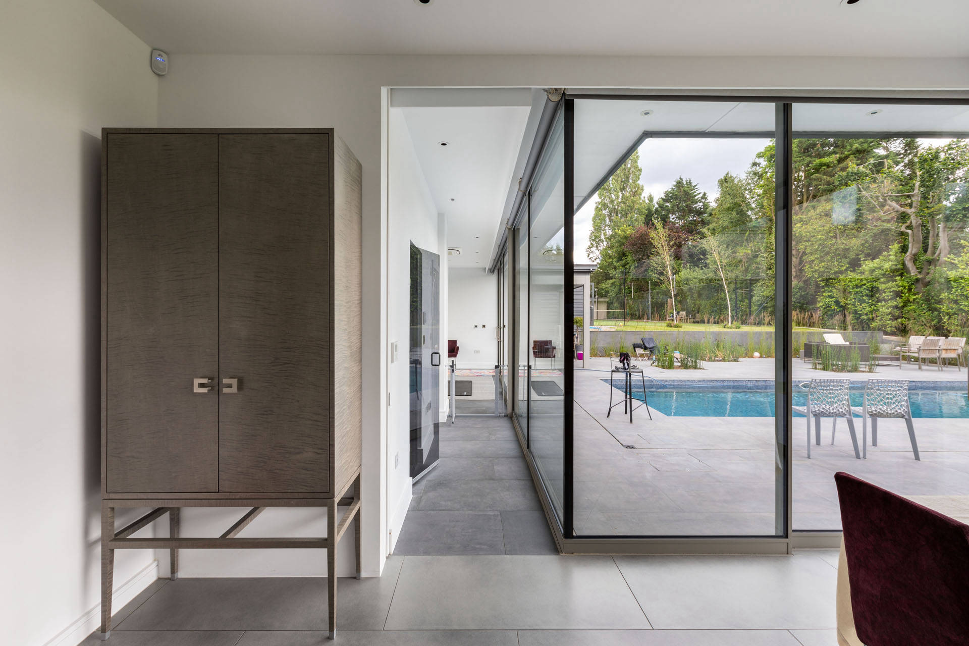 Sliding Glass Panels in a House Extension Built by a Construction Company in London