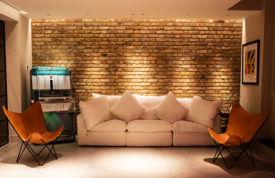 Interior feature brick wall in a house extension in London