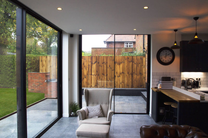 Sliding glass doors in a Hertfordshire home extension