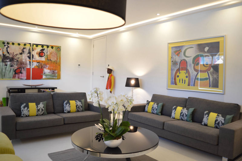 Home renovation and improvement in North London - bright living room with fitted strip lighting