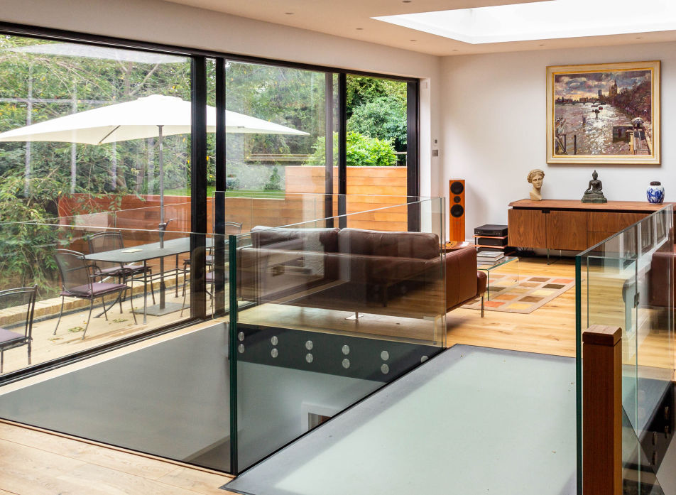 Aluminium sliding glass doors on a house extension in Hampstead