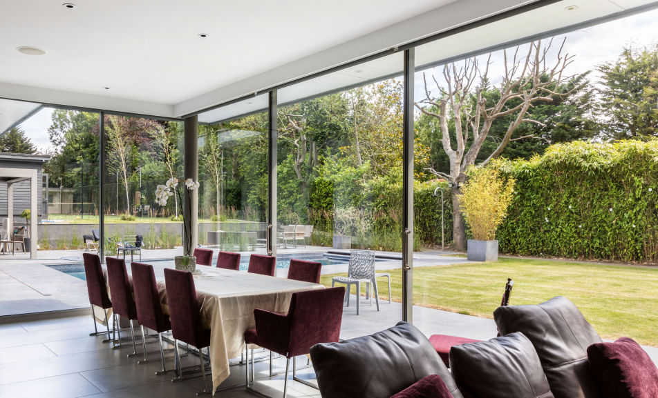 Aluminium Sliding Glass Panels on a House Extension in London